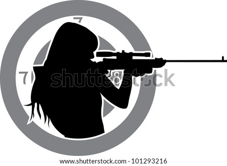 girl aims from a rifle with target background stencil - stock vector