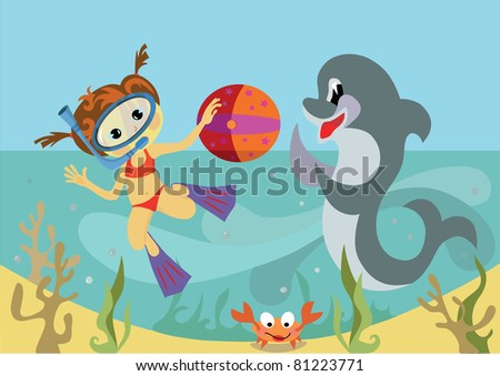 girl and a dolphin. - stock vector