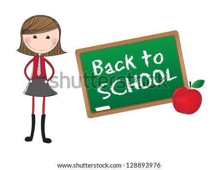 Girl and blackboard over white background in signal of back to school - stock vector