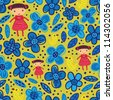 girl and blue flowers seamless pattern - stock vector