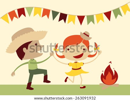 Girl and boy dancing at Brazil's june party. - stock vector