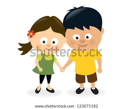 Girl and boy holding hands - stock vector