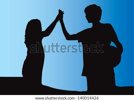 Girl and boy holding hands and making high five gesture after playing soccer football - stock vector