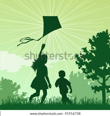 Girl and boy launching a kite in the sky, vector illustration - stock vector