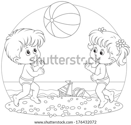 girl and boy playing a ball on a beach - stock vector