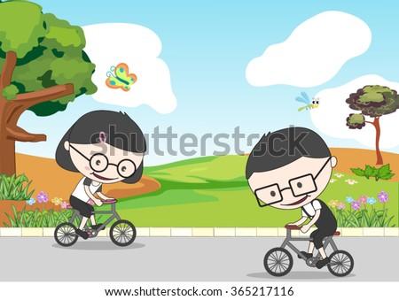 girl and boy riding a bikes near the garden - stock vector