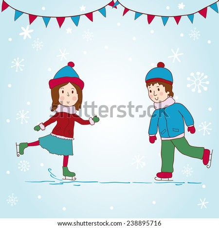 Girl and boy skating. Beautiful background. - stock vector