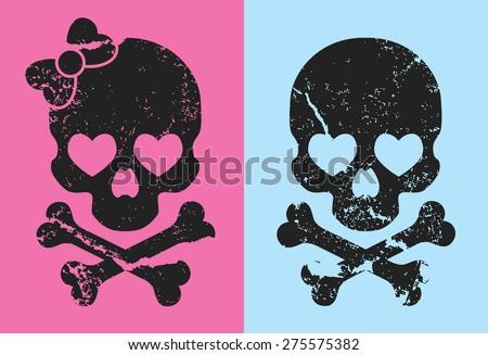 girl and boy skull - stock vector