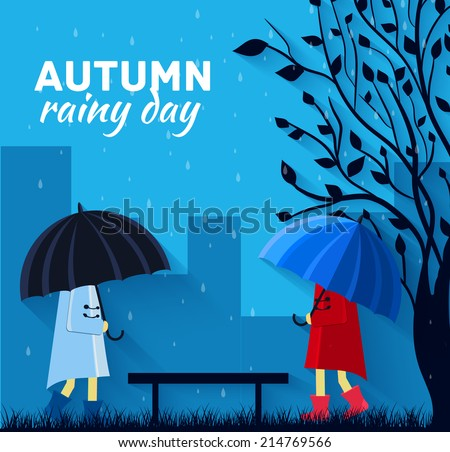 Girl and boy with umbrella in a autumn raining day background concept. Vector illustration design - stock vector