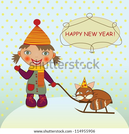 Girl and  cat on sledge - stock vector