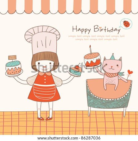 Girl and Cat with a Birthday Cake. Greeting Card Design. - stock vector