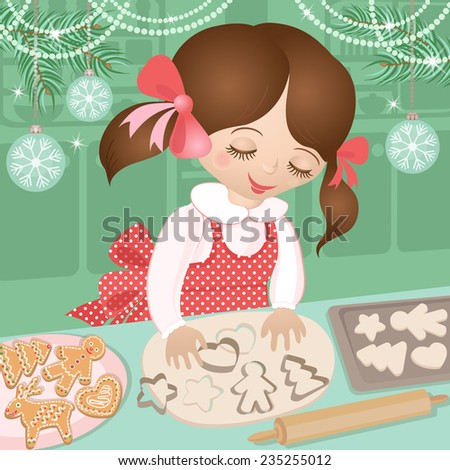 Girl and Christmas ginger cookies. Celebratory kitchen and child in advent when baking cookies. Colorful vector illustration.