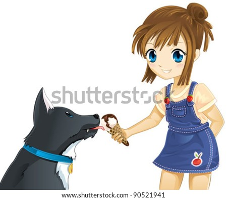 Girl and dog eating ice cream - stock vector