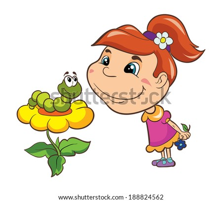 girl and flower caterpillar, vector illustration on white background - stock vector