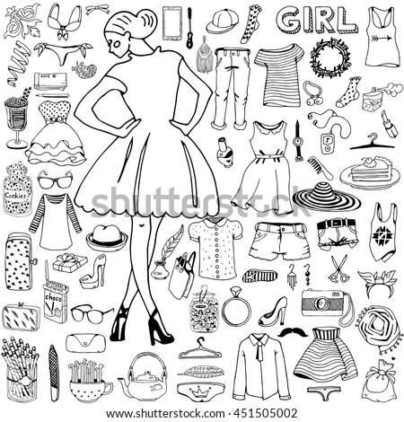 Girl and her clothes with accessories. Hand drawn doodle on the theme of fashion.