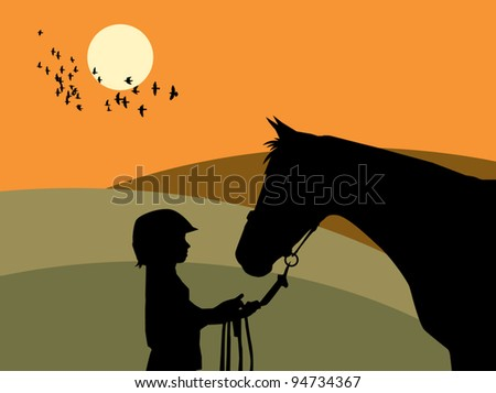 Girl and horse, vector illustration