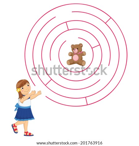 Girl and Maze Vector Illustration - stock vector