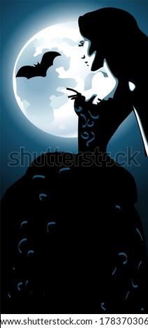 Girl and moon  - stock vector