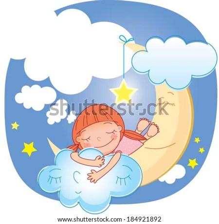 Girl and moon.Vector illustration of a little cute girl sleeping on the moon - stock vector
