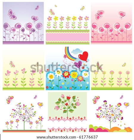 Girl arrival cards.Set - stock vector