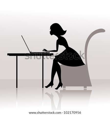 Girl at the computer prints - stock vector