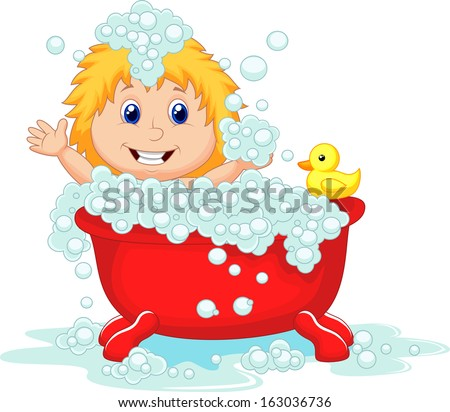 Girl bathing in the red bath tub - stock vector