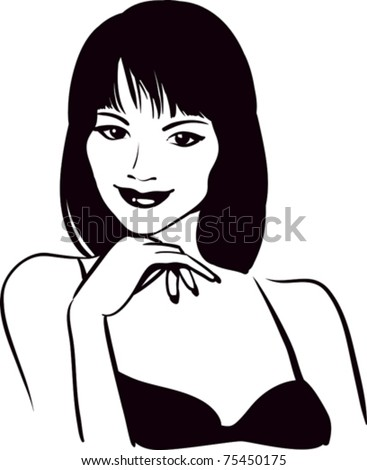 girl beauty face, vector portrait - stock vector