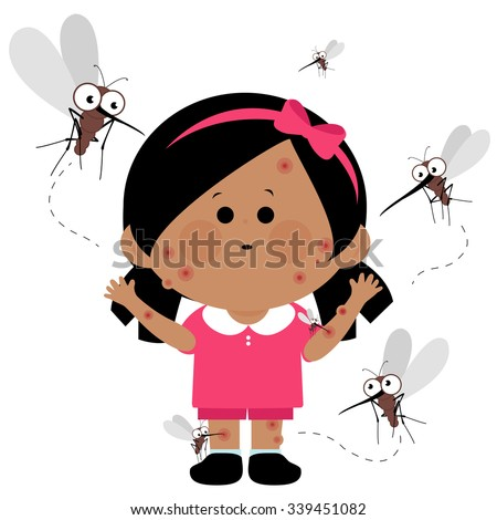 Girl bitten by mosquitoes.  - stock vector