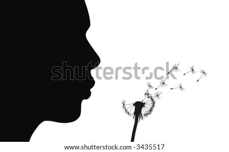 Girl blow dandelion. See more vector dandelions in my portfolio. - stock vector