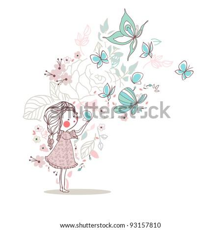 girl blowing butterflies - stock vector