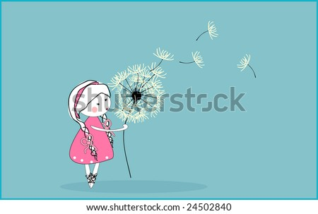 girl blowing dandelion - stock vector