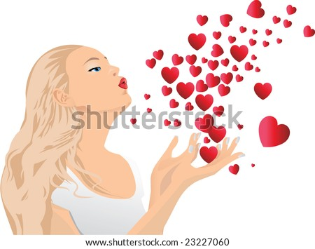 Girl blowing kisses.Vector illustration.The file can be scaled to any size. - stock vector