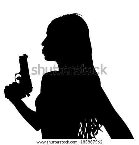Girl blowing on the tip of her gun, vector  - stock vector