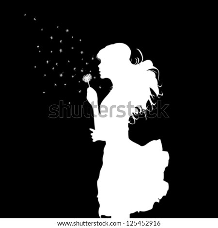 girl blowing over dandelion-black and white vector illustration - stock vector