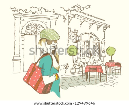 girl by cafe - stock vector