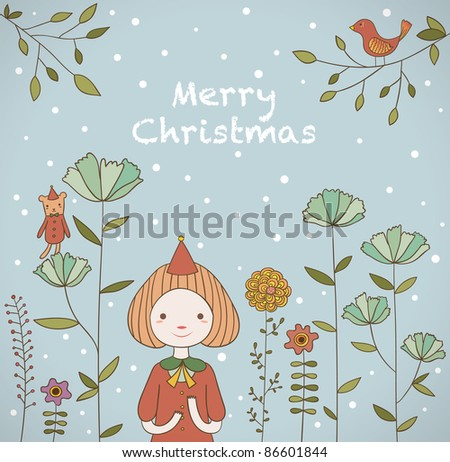 Girl Celebrates Christmas in the Snow. Beautiful Garden. - stock vector