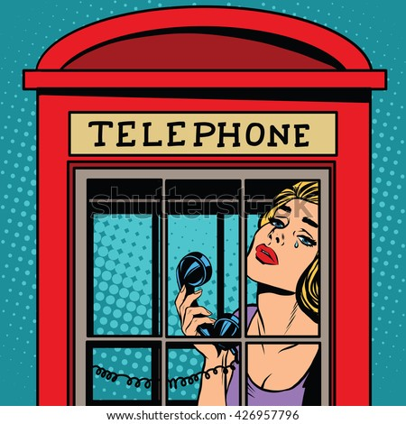 girl crying in the red telephone booth retro - stock vector