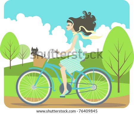 Girl cycling - stock vector