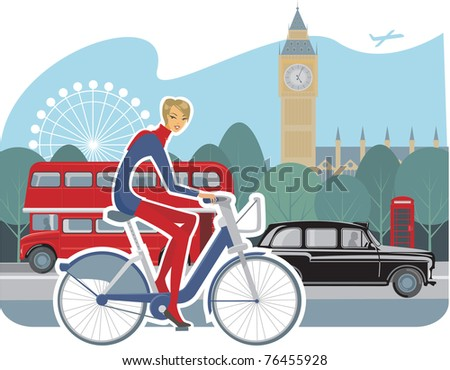 girl cycling in London - stock vector