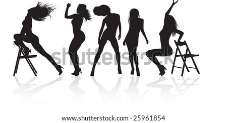 girl dancing in a variety show - stock vector
