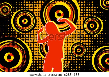 Girl dancing on the dance floor - stock vector
