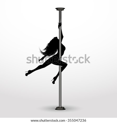 Girl dancing on the pylon. - stock vector