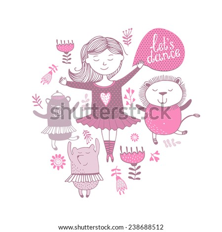 Girl dancing with animals, vector illustration  - stock vector