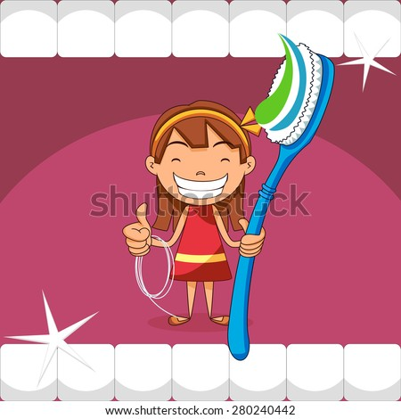 Girl dental care and health - stock vector