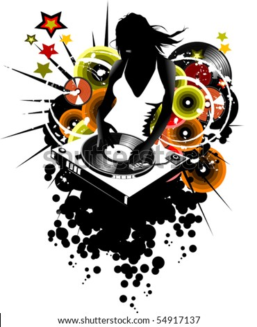 girl DJ spins vinyl disc on the music player; - stock vector