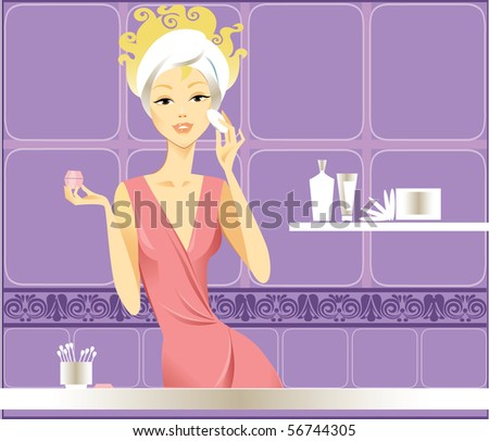 girl does a make-up in a bathroom - stock vector