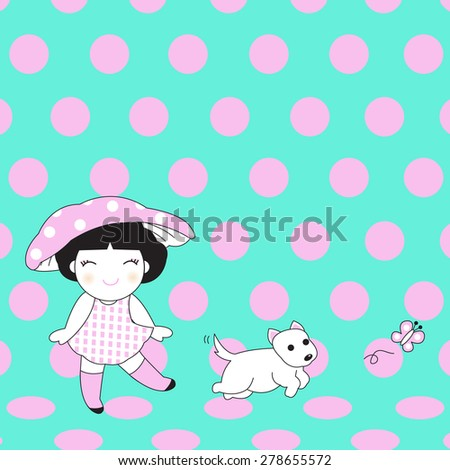 Girl, Dog And Butterfly character illustration - stock vector