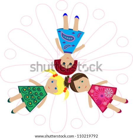 girl doll toys in colorful dress on white background - stock vector