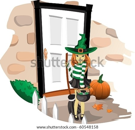 Girl dressed as a witch on Halloween at the door of the house - stock vector