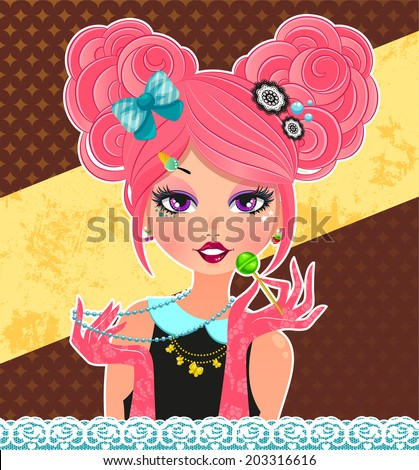 girl dressed in cute style similar to that of Tokyo and Harajuku  - stock vector